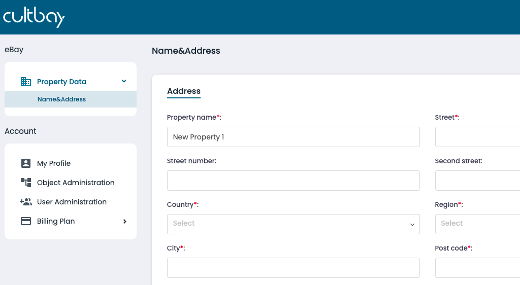 Fill all fields with data related to your property accordingly